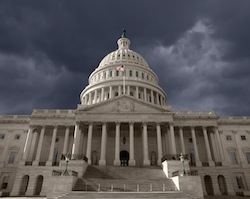 Dark sky over the United States Capitol in Washington DC