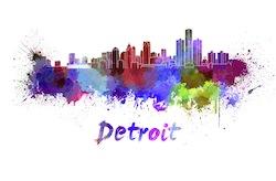 Detroit skyline in watercolor