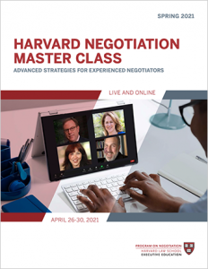 Negotiation Master Class Spring 2021 Program Guide