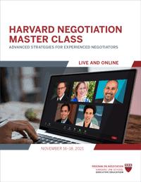 Harvard Negotiation Master Class Fall 2021