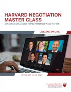 Negotiation Master Class Fall 2021 Program Guide