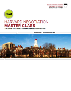 Negotiation Master Class Fall 2014 Program Guide