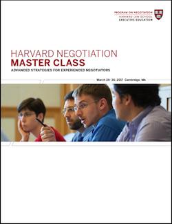 Negotiation Master Class Spring 2017 Program Guide
