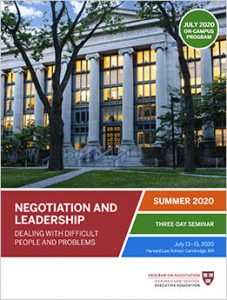 Negotiation and Leadership Summer  2020 Brochure