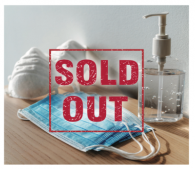 Sold Out Sign on Facemasks Sanitizer