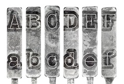 Old Typewriter Typebar Letters A to F Isolated on White