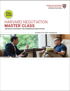 Negotiation Master Class Fall 2018 Program Guide