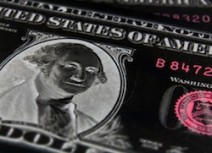 Negative image of US dollar focused on President Washington