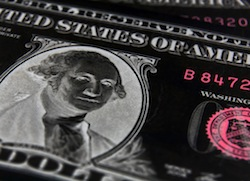 Negative image of US dollar focused on President Washington