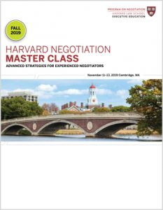 Negotiation Master Class Fall 2019 Program Guide