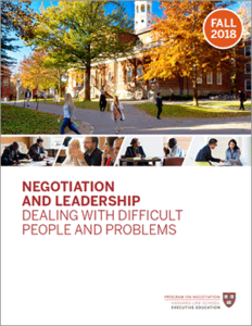 Negotiation and Leadership Fall  2018 Brochure