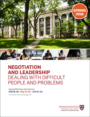 Negotiation and Leadership Spring  2018 Brochure