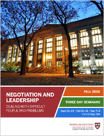 Negotiation and Leadership Fall  2020 Brochure