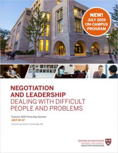 Negotiation and Leadership Summer  2019 Brochure
