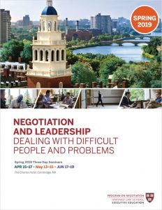 Negotiation and Leadership Spring  2019 Brochure