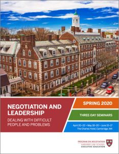 Negotiation and Leadership Spring  2020 Brochure