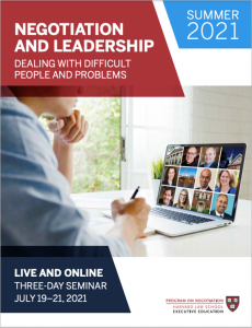 Negotiation and Leadership Summer  2021 Brochure