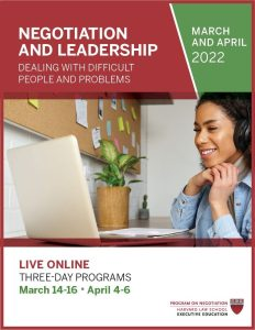 Negotiation and Leadership March and April 2022 Brochure