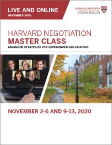 Negotiation Master Class Fall 2020 Program Guide