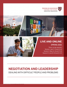 Negotiation and Leadership Spring  2021 Brochure