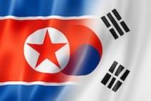 Mixed North Korea and South Korea flag, three dimensional render, illustration