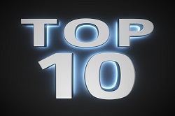 "Text ""Top 10"" with backlight effect on the black background"