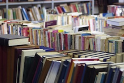 Piled books in a book store